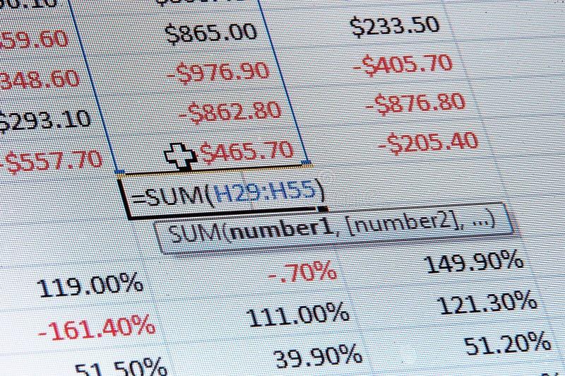 dane spreadsheet obraz stock
