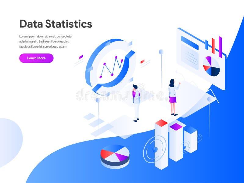 Dane statystyk Isometric Ilustracyjny pojęcie r ilustracja wektor
