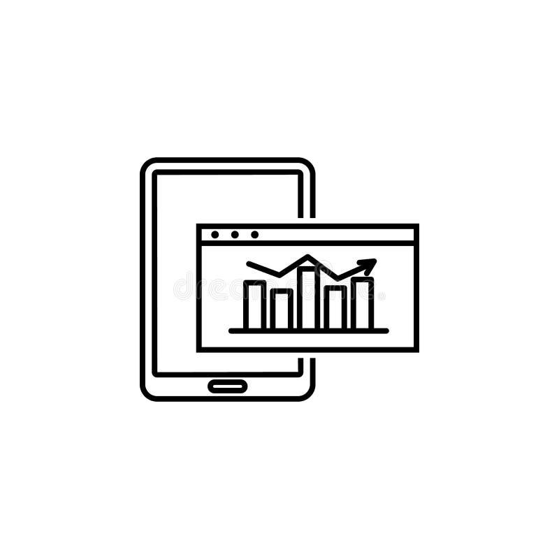 dane, strategia, smartphone, mapy ikona Element technologiczna dane ikona dla mobilnych pojęcia i sieci apps Cienieje kreskowych  ilustracja wektor
