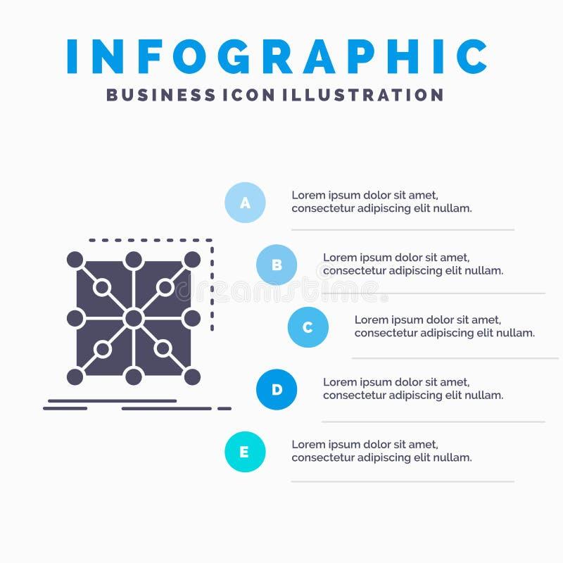 Dane, struktura, App, grono, powik?any Infographics szablon dla strony internetowej i prezentacja, glif Szara ikona z B??kitny in ilustracja wektor
