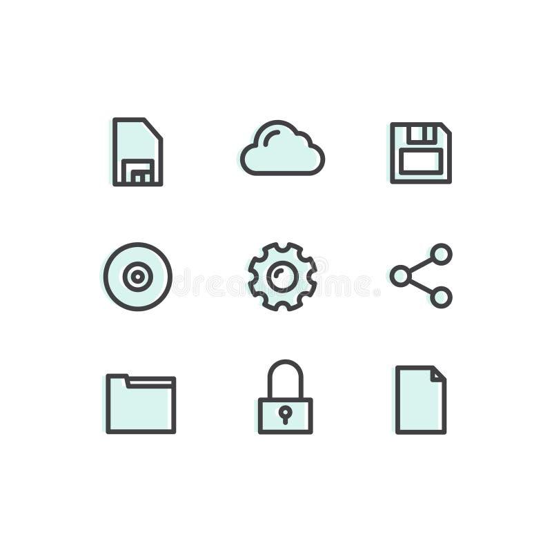 Dane technologia, narzędzia, przyrząda, zarządzanie siecią, networking i Obłoczny Obliczać, wiszącej ozdoby i interneta, sieci sy ilustracji