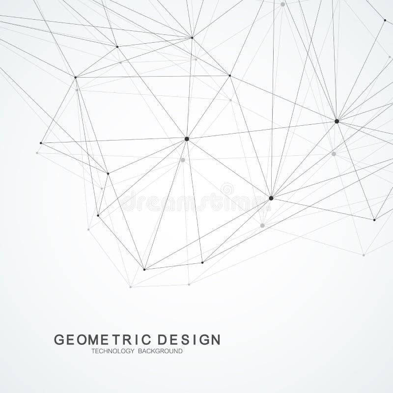 Dane technologii abstrakcjonistyczna futurystyczna wektorowa ilustracja Duży dane unaocznienie Niski poli- kształt z łączyć kropk ilustracji
