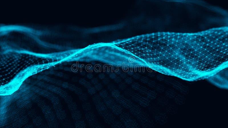Dane technologii ilustracja Macha z ??czy? kropki i linie na ciemnym tle Fala cz?steczki ?wiadczenia 3 d ilustracja wektor