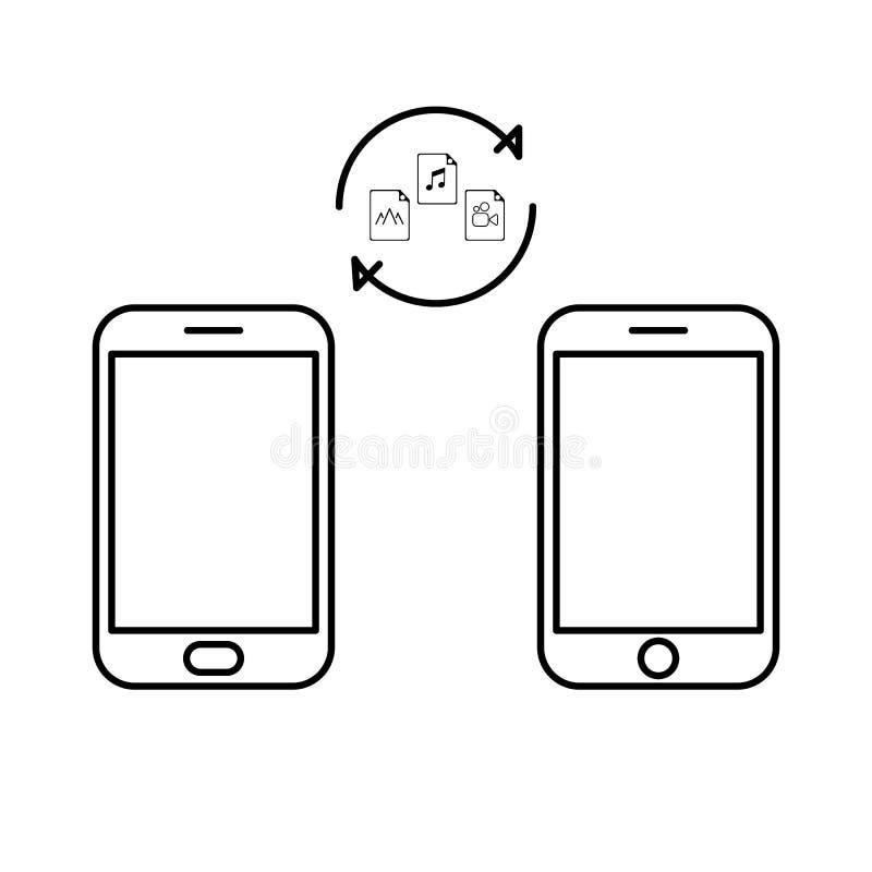 Dane wizerunku kartoteki przeniesienie między przyrządu smartphone Kartoteki przeniesienia kopii kartotek dane prześcieradła wymi royalty ilustracja