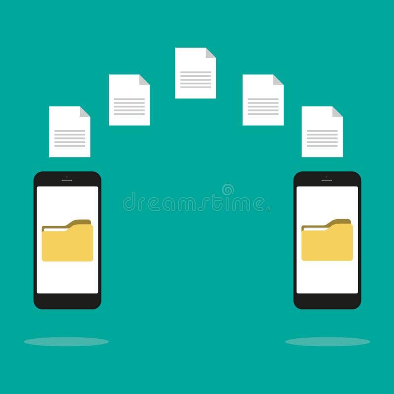 Dane wizerunku kartoteki przeniesienie mi?dzy przyrz?du smartphone Kartoteki przeniesienia kopii kartotek dane prze?cierad?a wymi royalty ilustracja