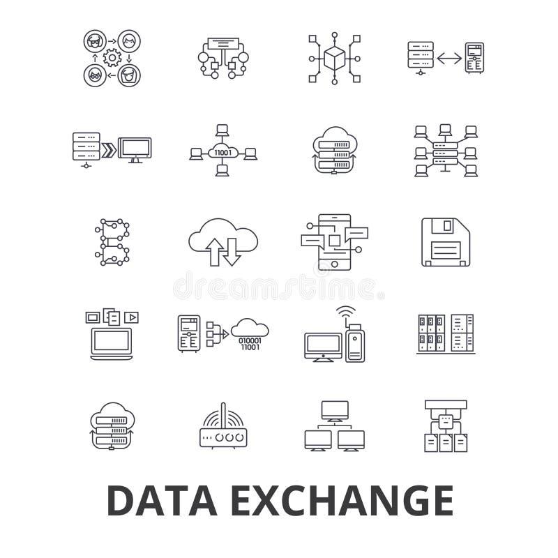 Dane wymiany powiązane ikony ilustracja wektor
