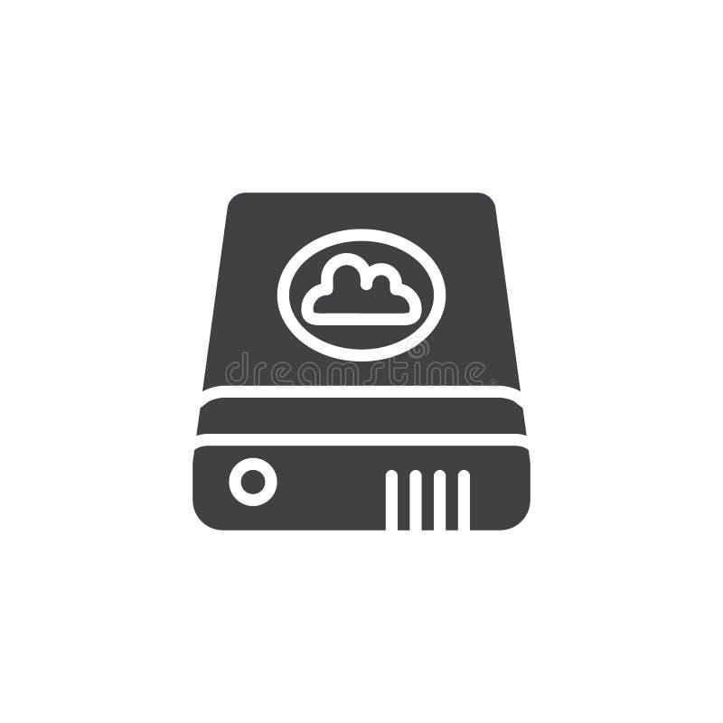 Dane wyzdrowienia external chmury ikony wektor royalty ilustracja