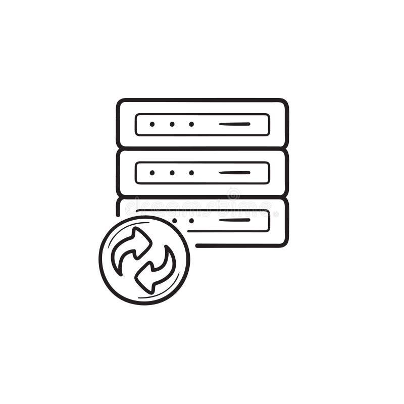 Dane wyzdrowienia konturu doodle ręka rysująca ikona ilustracja wektor