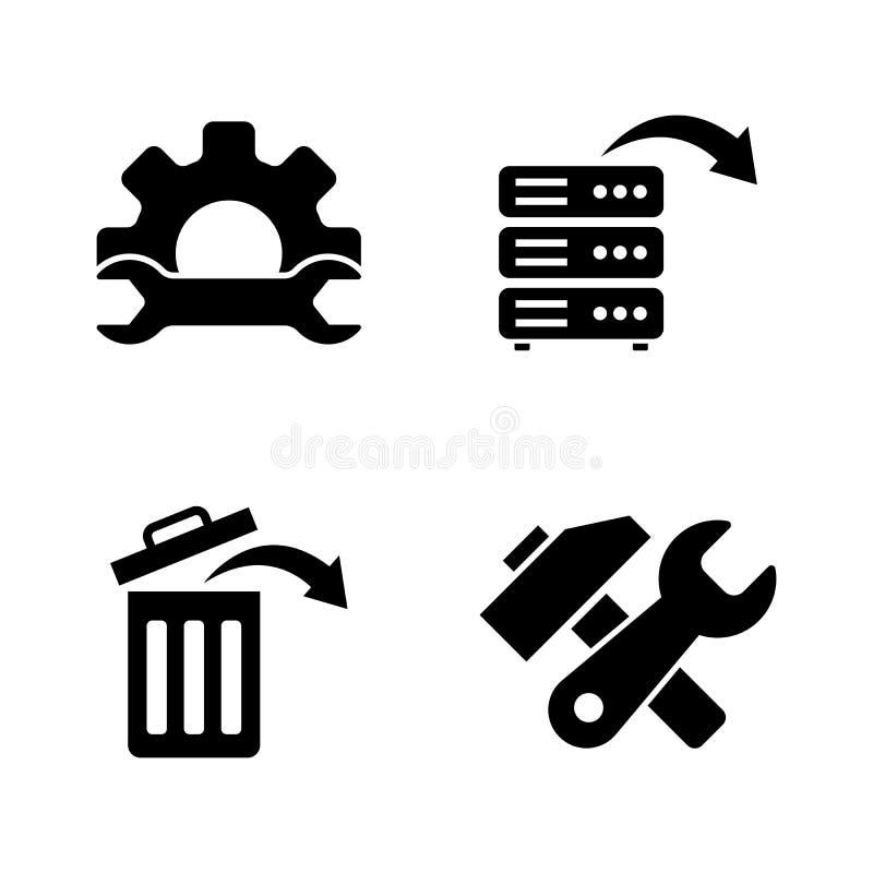 Dane wyzdrowienie, naprawa Proste Powiązane Wektorowe ikony ilustracji