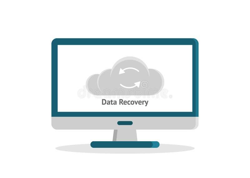 Dane wyzdrowienie, dane wsparcie, przywrócenie i ochrona płaski projekt z ikonami, royalty ilustracja