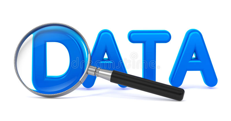 Dane z Powiększać - szkło. ilustracja wektor