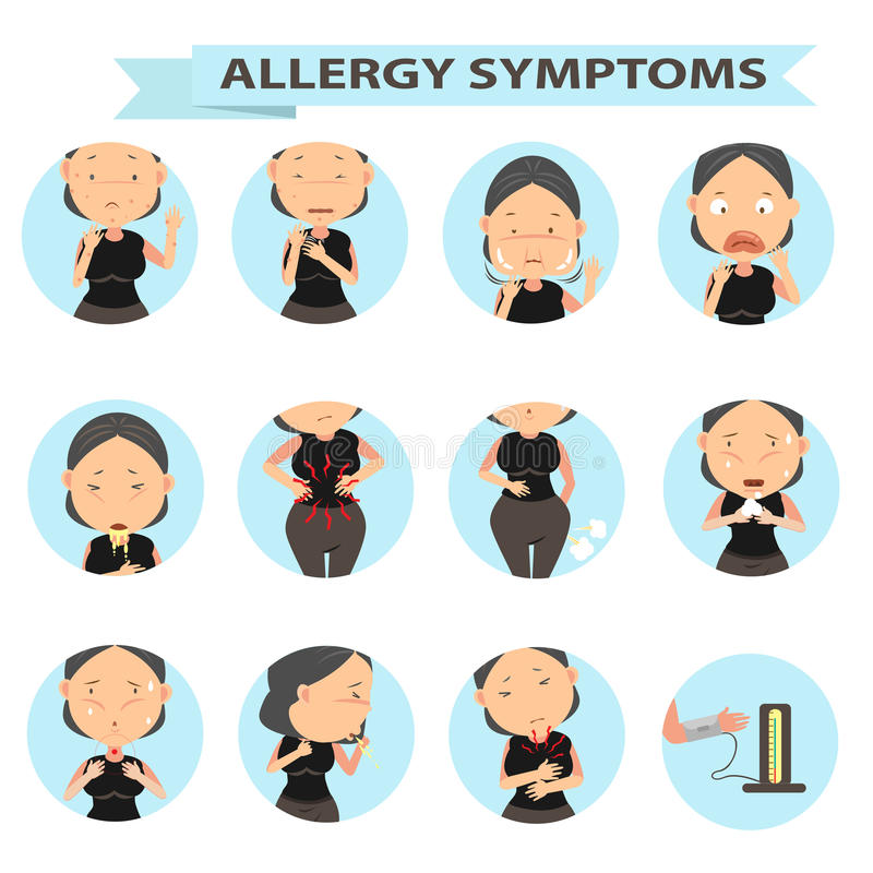 Danger of allergies. Patients with symptoms of her woman illustration vector illustration