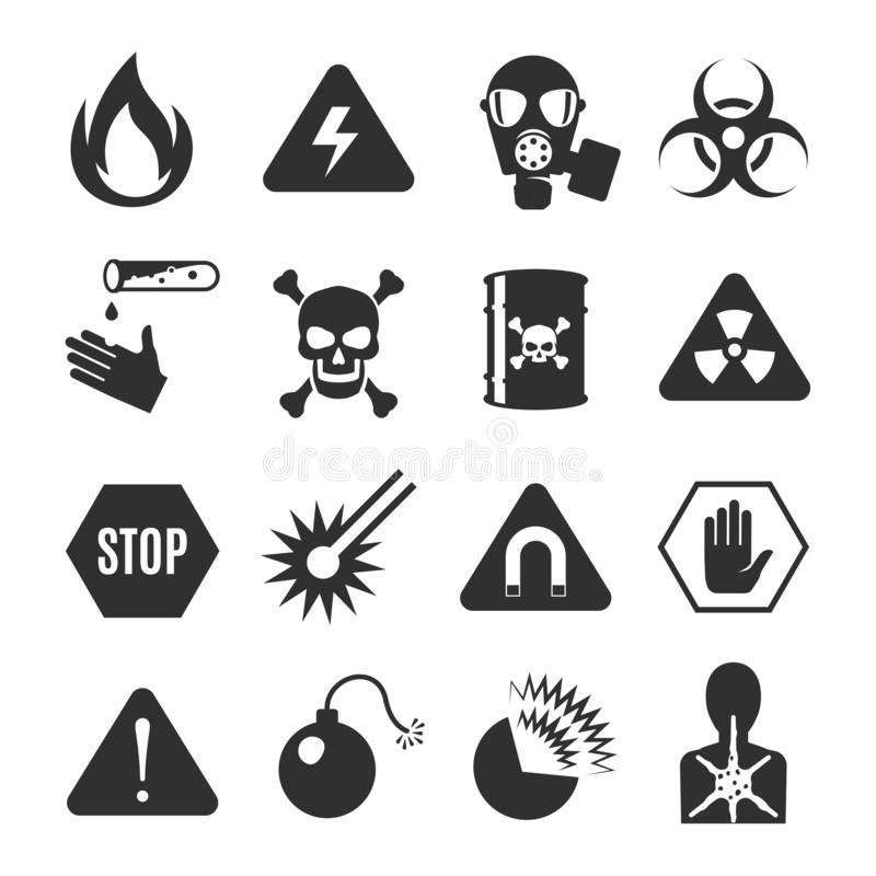 Danger black icon set, beware and warning information royalty free illustration
