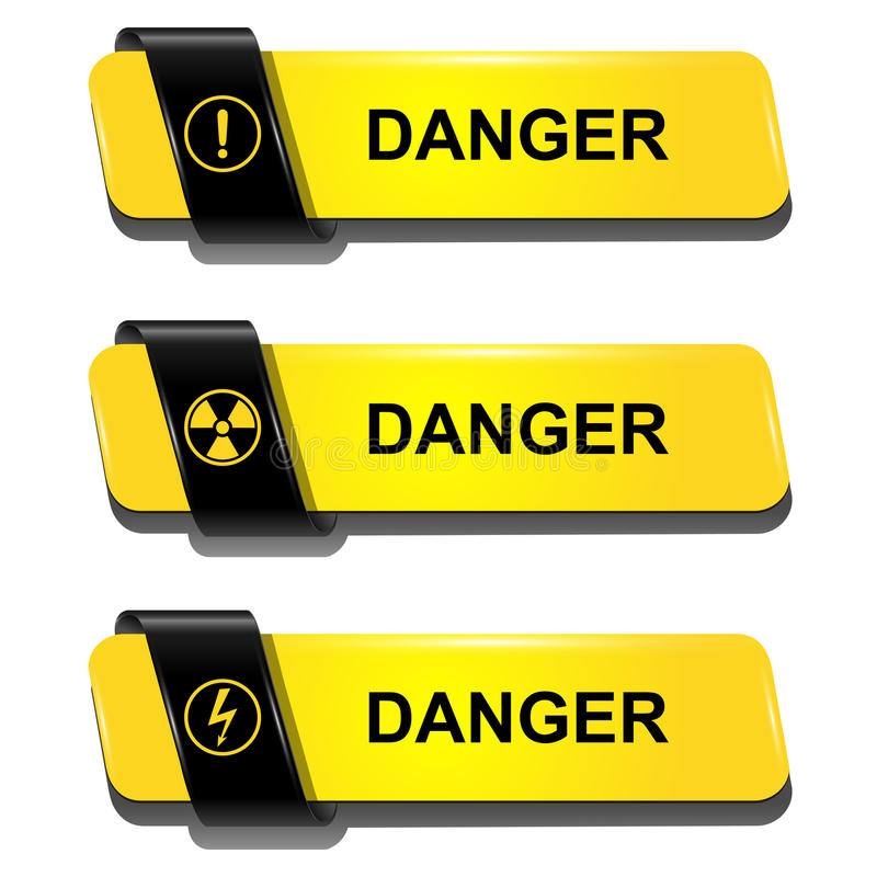 Danger buttons stock illustration