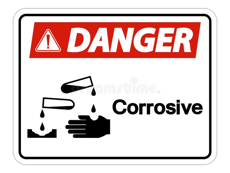 Danger Corrosive Symbol Sign Isolate On White Background,Vector Illustration. Accident, acid, alert, area, burn, caustic, chemical, chemistry, contaminated royalty free illustration