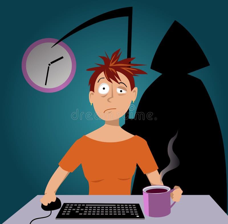 Danger de la privation de sommeil illustration libre de droits