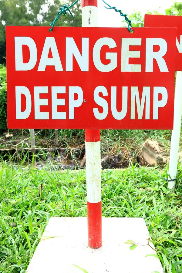 Download Danger Deep Sump signage stock image. Image of warning - 34115471