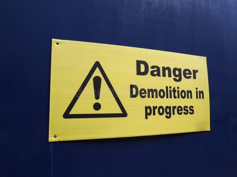 danger demolition sign stock photo