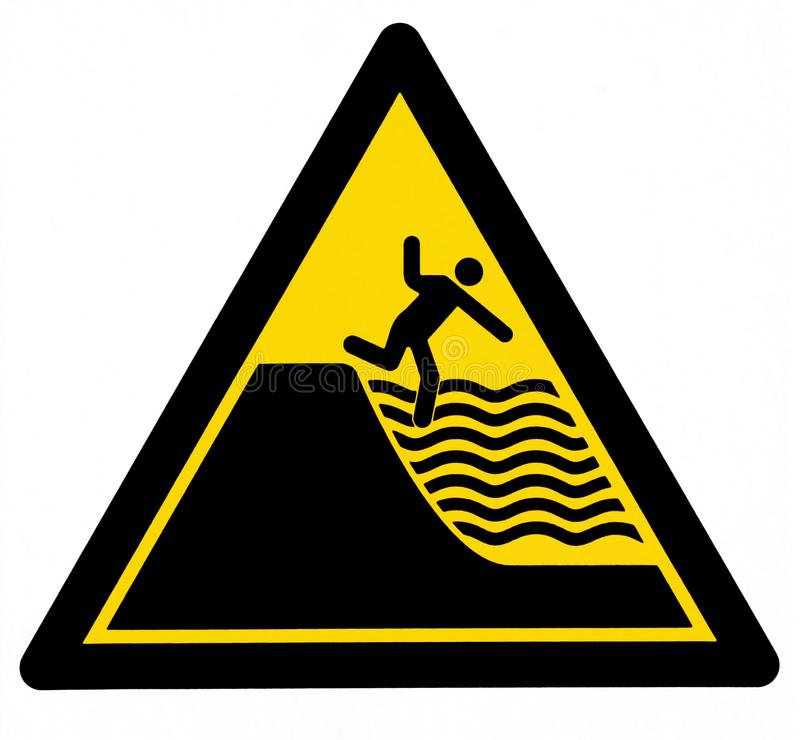 Danger of drowning sign, with a man silhouette falls in the deep water.  vector illustration