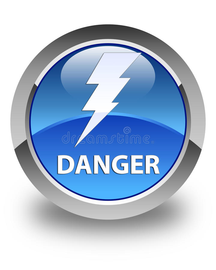 Danger (electricity icon) glossy blue round button. Danger (electricity icon) isolated on glossy blue round button abstract illustration vector illustration
