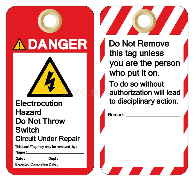 Danger Electrocution Hazard Do not throw switch circuit under repair Symbol Sign ,Vector Illustration, Isolate On White Background. Label. EPS10 vector illustration