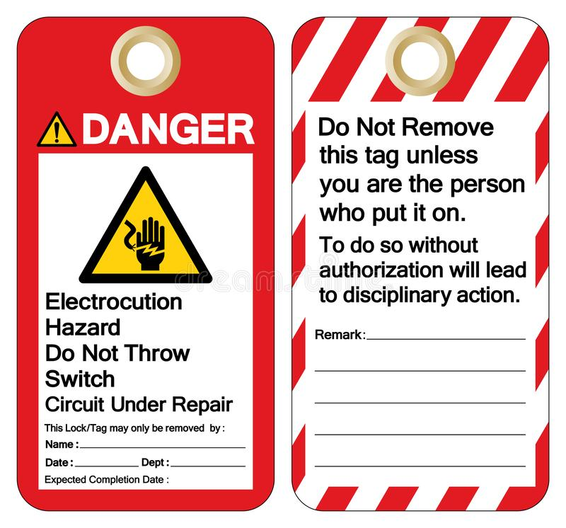 Danger Electrocution Hazard Do not throw switch circuit under repair Symbol Sign ,Vector Illustration, Isolate On White Background. Label. EPS10 stock illustration