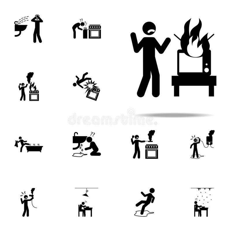 Danger, fire, TV icon. home hazard and safety precaution icons universal set for web and mobile. On white background royalty free illustration