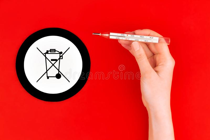 Danger mercury thermometer. Environment care stock image