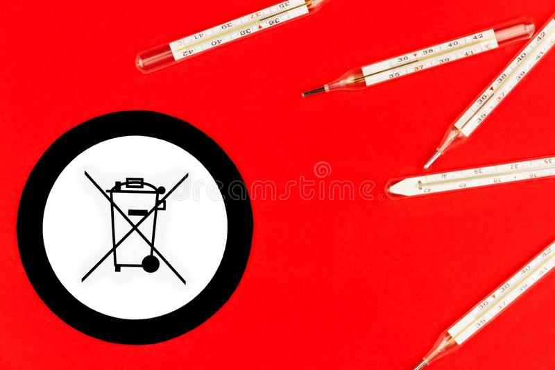 Danger mercury thermometer. Environment care royalty free stock photo