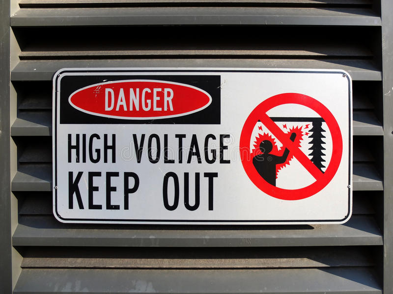 Danger High Voltage. Keep Out Sign royalty free stock images
