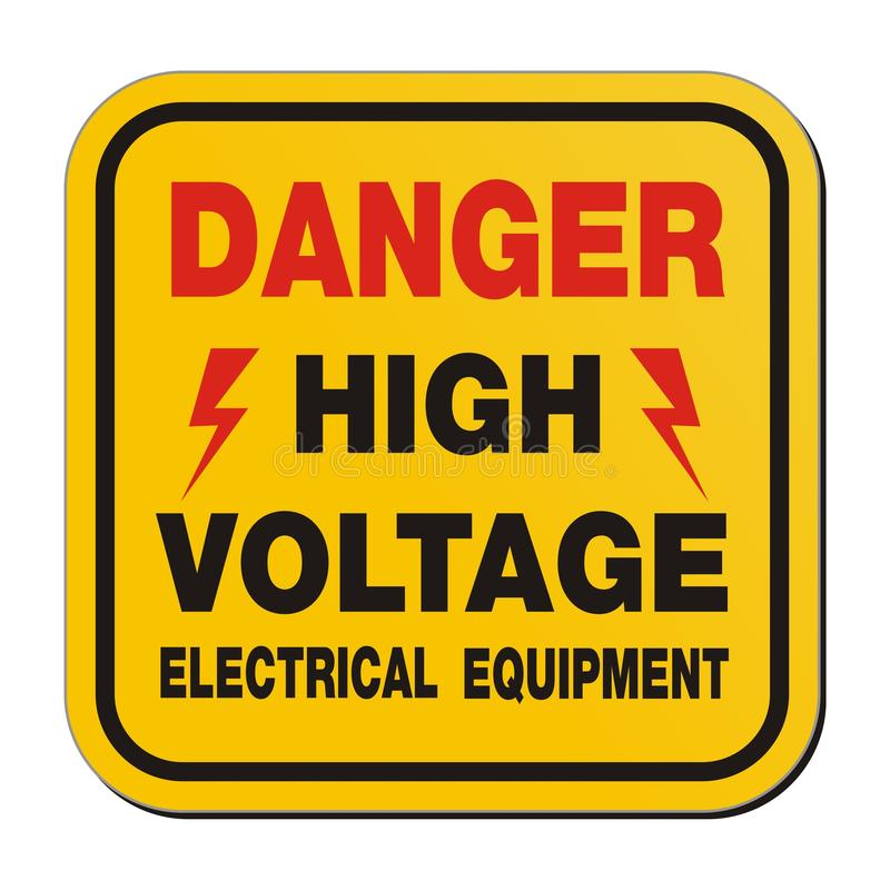 Danger High Voltage Electrical Equipment Yellow Sign Stock