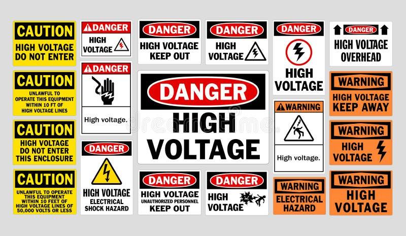Danger High Voltage signs royalty free illustration