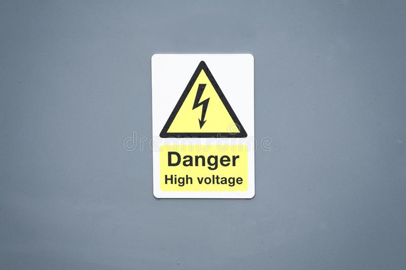 Danger high voltage sticker sign. Uk royalty free stock images
