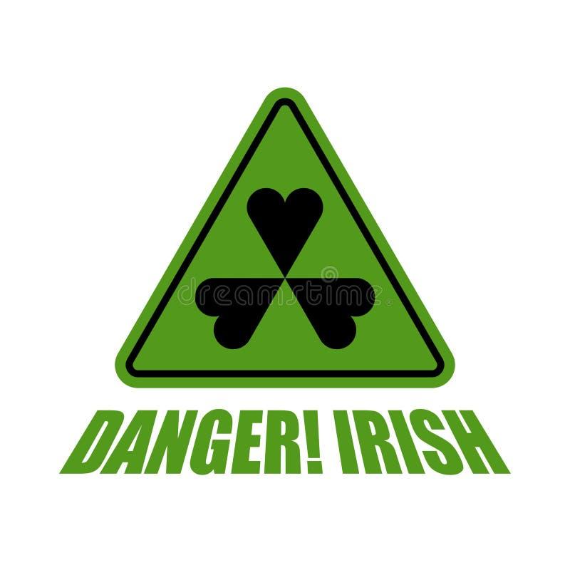 Danger irlandais ! Oxalide petite oseille vert de risque Symbole de trèfle de l'Irlande Signe de jour du ` s de St Patrick illustration stock