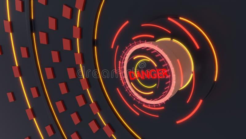 Danger letter button with futuristic holograms lights, 3d illustration stock illustration