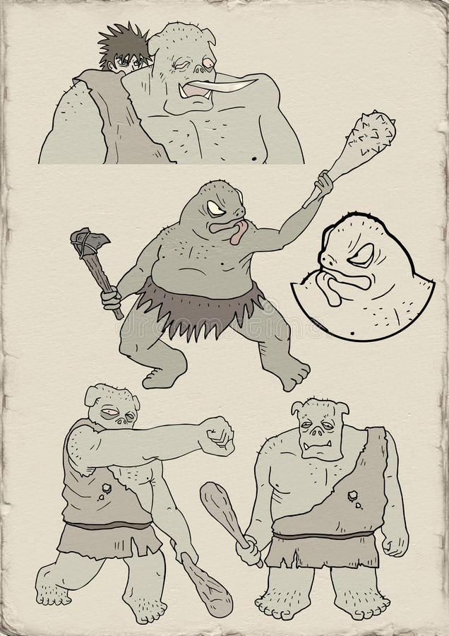Danger monsters illustration royalty free illustration