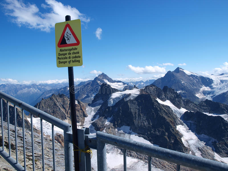 Danger in mountains stock image