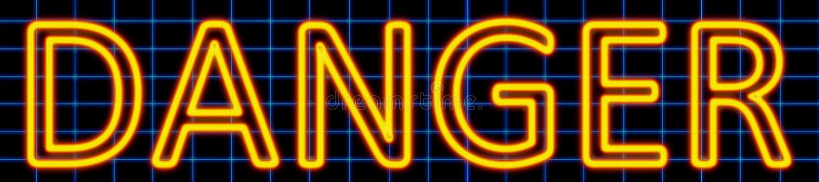 Danger neon sign. Abstract 3d rendered words danger yellow neon sign on blue wire background vector illustration