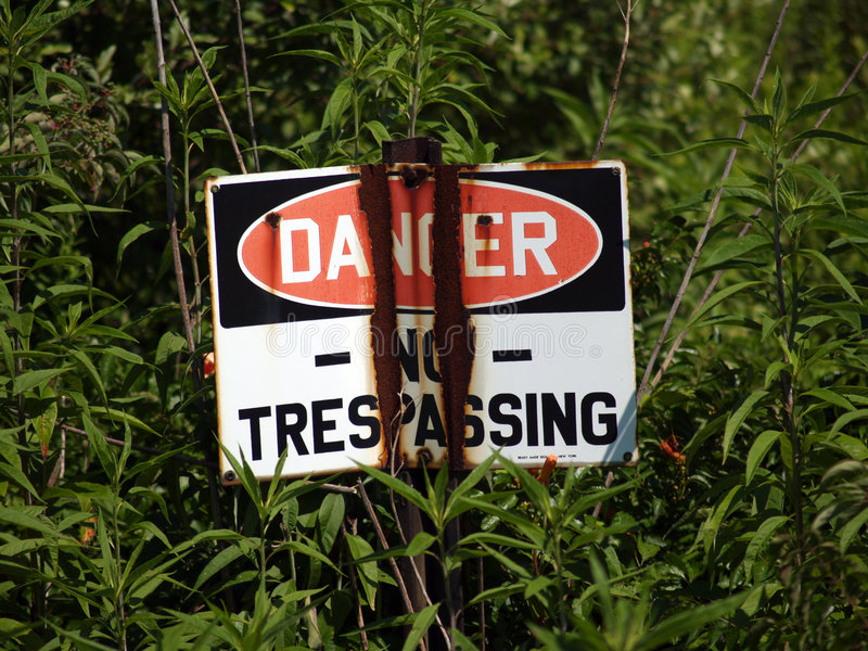 Danger, No Trespassing - Sign stock photo