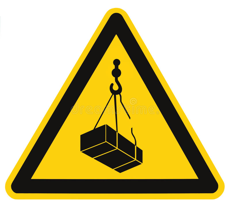 Danger overhead, crane load falling hazard risk sign, cargo icon signage, isolated black triangle over yellow, large macro closeup. Danger overhead, crane load royalty free stock photo