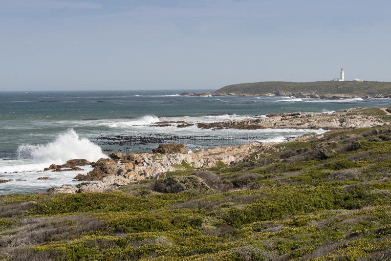 Danger Point lighthouse and bay, Gansbaai royalty free stock image