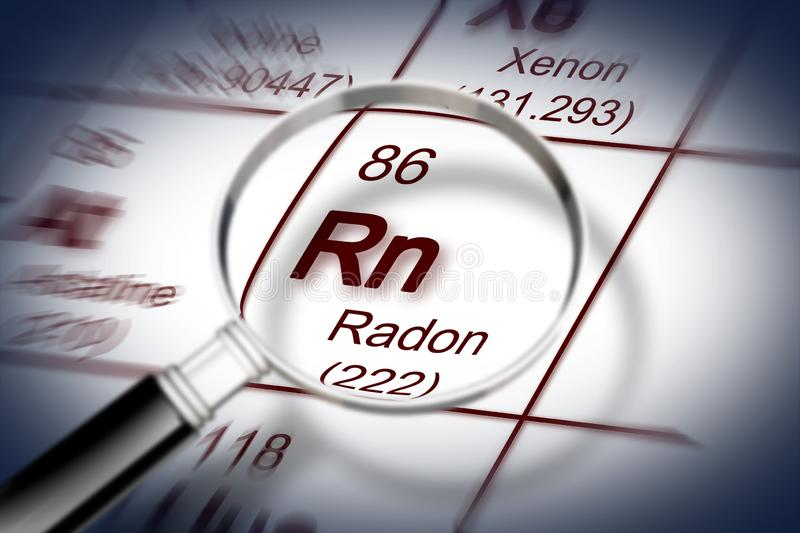The danger of radon gas - concept image with periodic table of the elements and magnifying lens stock illustration