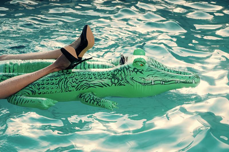 Danger of rest in the sun. Fashionable shoe and leather products. inflatable crocodile in swimming pool. royalty free stock photos