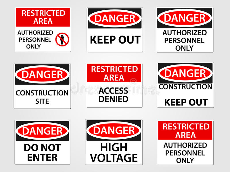 Danger and Restricted Area Signs Set. Danger and Restricted Area Workplace Signs Set royalty free illustration