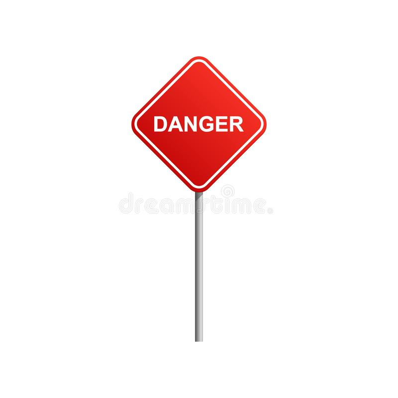 Danger road sign with blue sky and cloud background stock illustration