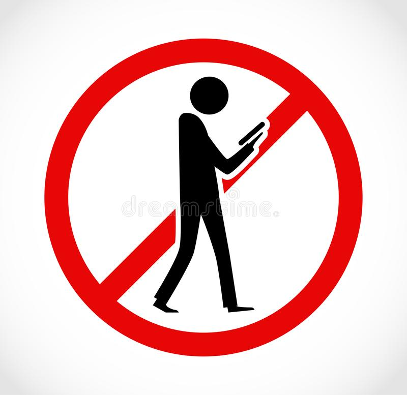 Danger on road sign concept - man with mobile phone walking through crossroad stock image