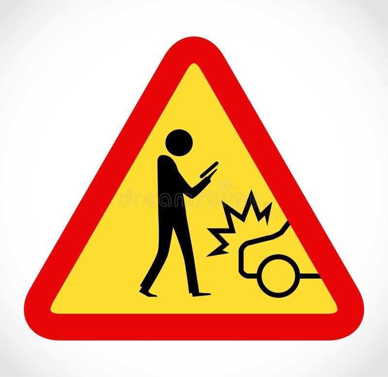 Danger on road sign concept - man with mobile phone walking through crossroad royalty free stock image