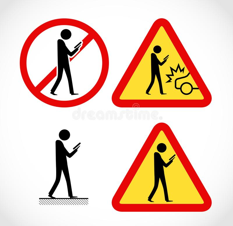 Danger on road sign concept - man with mobile phone walking through crossroad royalty free stock images