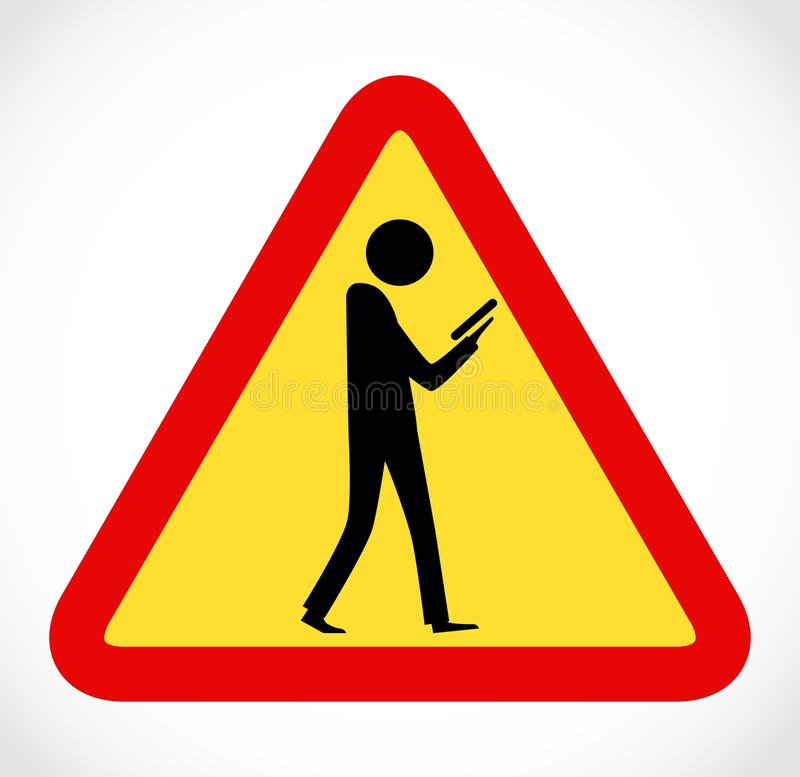 Danger on road sign concept - man with mobile phone walking through crossroad stock photography