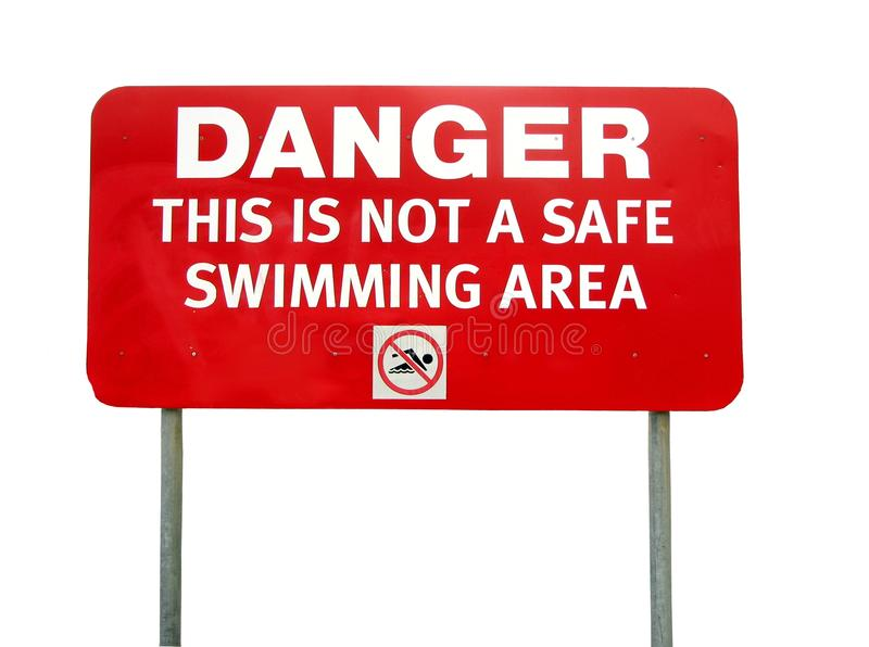 Danger Sign. Isolated Danger sign related to swimming area stock photos
